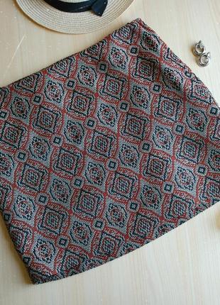 Мини юбка орнамент жаккард осень плотная трапеция прямая 36 s