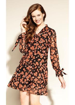 Платье короткое длинный рукав цветочное с бантиком осеннее zaps melavia 004 черное