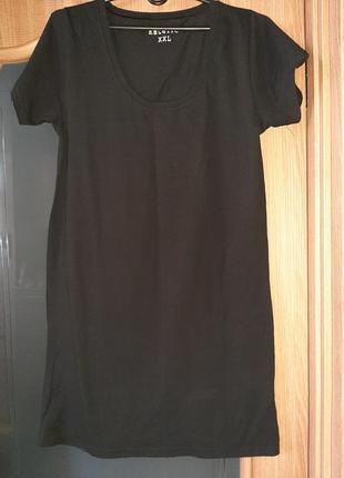 Черное трикотажное платье xxl