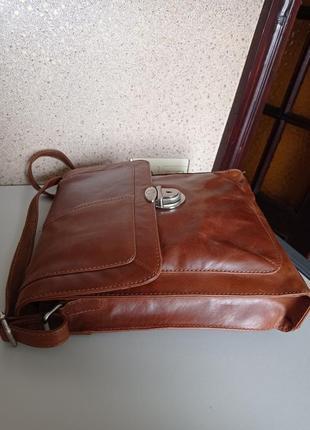 Jones bootmaker мужская кожаная сумка на длинном ремне.