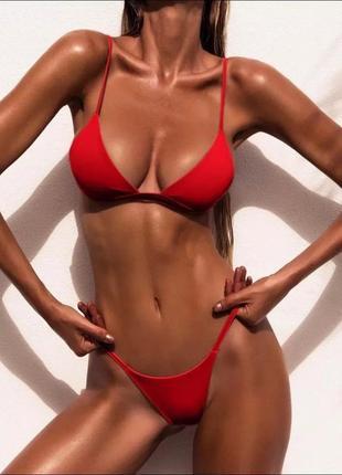 Раздельный купальник яркий красный бикини однотонный с плавками бразильяна