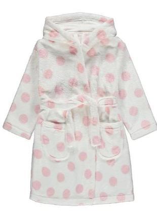 Брендовый плюшевый халат с капюшоном для ребенка george