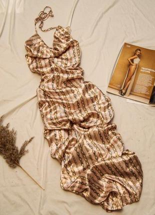 Нарядное вечернее платье макси в цепи на завязках с драпировкой plt