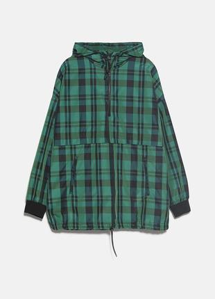 Клетчатая куртка с капюшоном zara