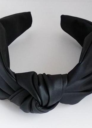 Обруч для волос ободок на голову из искусственной кожи чалма тюрбан узелок черный