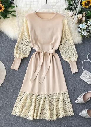Молочное платье годе с кружевом, платье с длинным рукавом цвета айвори