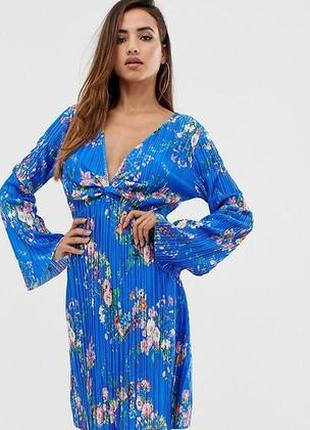 Шикарное платье asos плиссе, плиссированное, цветочный принт, в цветы, твист, код 0056