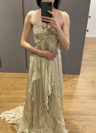 Шелковое вечернее платье в пол catherine deane