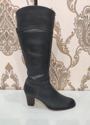 Blend she демисезонные кожаные сапоги на устойчивом каблуке