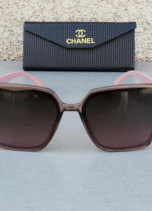 Chanel очки женские солнцезащитные большие коричневые с розовым