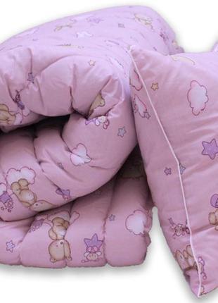 Гіпоалергенна ковдра та подушки рожеві ведмедики, одеяло