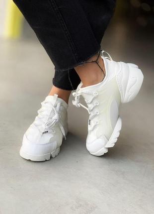 Dior d connect white кожаные женские кроссовки диор в белом цвете (36-40)💜