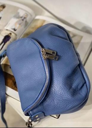 Сумка кожаная италия джинс голубой синяя кроссбоди vera pelle кожа шкірна вместительная