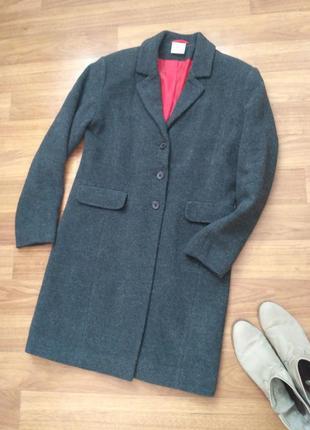Серое демисезонное пальто размер s