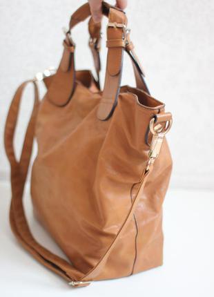 Новая рыжая сумка шопер, несколько вариантов носки, бренд warehouse2