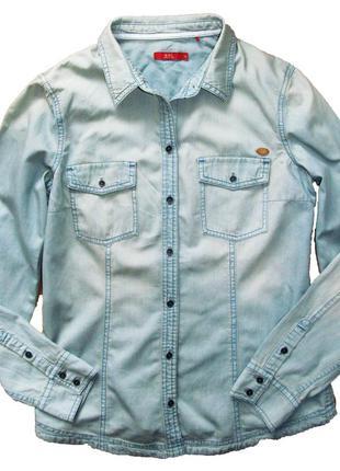 Стильная голубая джинсовая рубашка esprit edc 42-44 укр.2