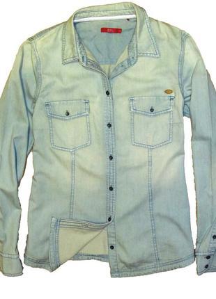 Стильная голубая джинсовая рубашка esprit edc 42-44 укр.1