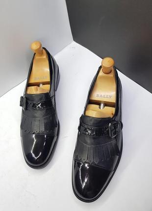 Новые черные кожаные туфли монки bally 43 оригинал 9.5