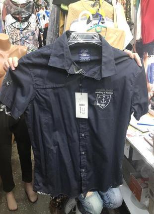 Нарядная хлопковая рубашка на короткий рукав