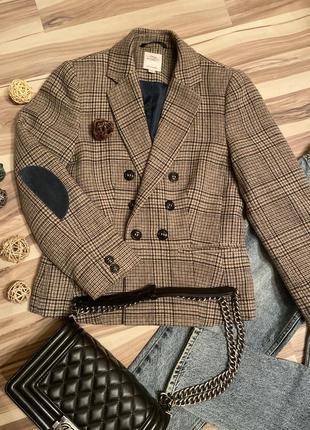 Тренд 2021 двубортный пиджак, жакет в клетку ,в составе шерсть✨(германия🇩🇪)