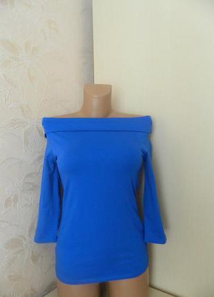 Стильная кофта синего цвета с открытыми плечами от george размер s кофта 3/4 рукав хлопок