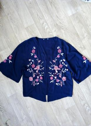 Шикарная натуральная блуза/накидка с вышивкой 12-14 рр.