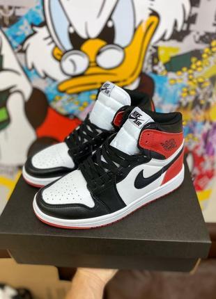 Ботинки nike jordan  1 high red black ov черевики