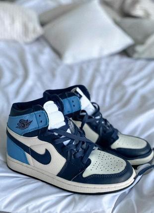 Ботинки jordan 1 retro high patent blue toe черевики