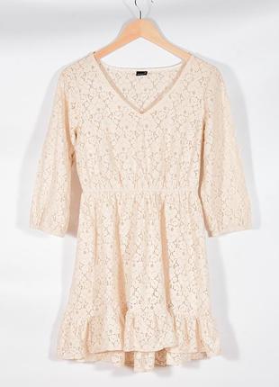 Кружевное платье кремовое, нежное платье с кружевом, молочное платье, сукня