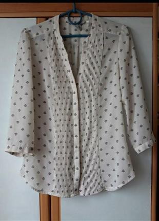 Шифоновая блузка в мелкий принт