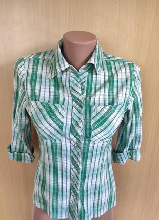 Рубашка на кнопках в зеленую клетку от h&m
