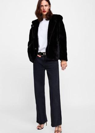 Black zara fur coat