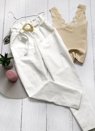 Летние штаны из натуральной ткани  с поясом