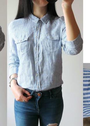 Рубашка в полоску 100% лен