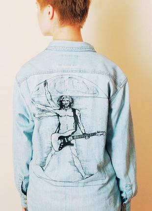 Джинсовая куртка с ручной росписью  джинсовка ручная работа крутая  классная