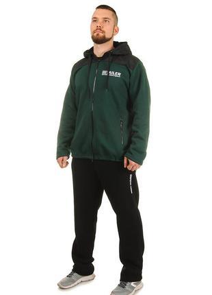 Мужской утепленный спортивный костюм из трикотажа трехнитка и плащевки (501)