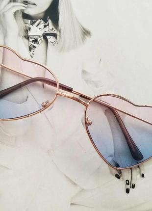 Солнцезащитные женские очки в форме сердца розовый с голубым