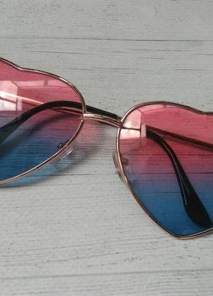 Солнцезащитные женские очки в форме сердца розовый с синим