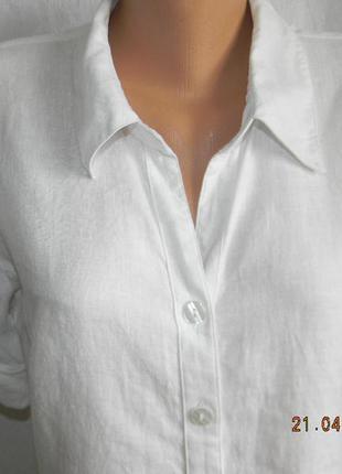 Белое платье-рубашка лен2