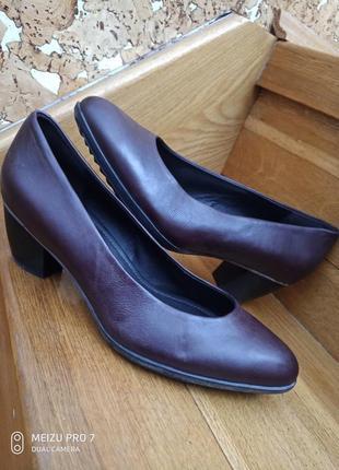 Ecco оригинал, туфли лодочки  натуральная кожа
