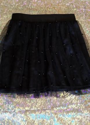 Фатиновая юбка с  бусинками