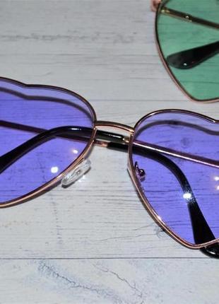 Солнцезащитные женские очки в форме сердца синий