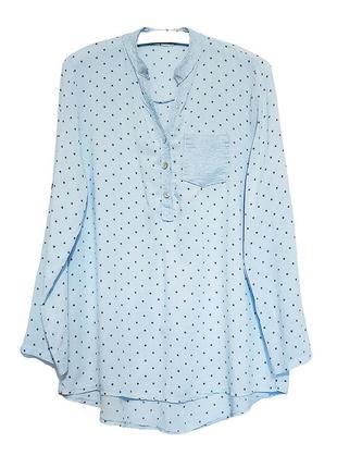 Вискозная итальянская голубая свободная рубашка блуза пог 52 см длинный рукав