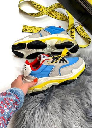 Sale кроссовки женские balenciaga triple s 2.0 blue yellow 🌶 скидка