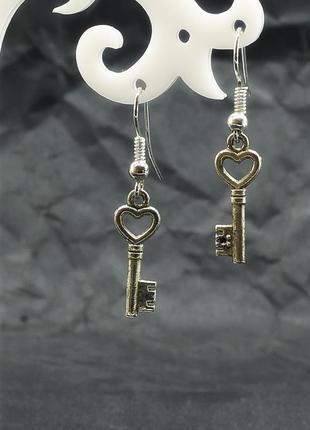 Серьги ключ и сердце