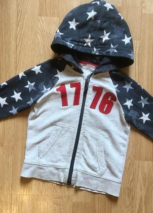 Стильная толстовка, худи с капюшоном, свитер, кофта для мальчика h&m, р. 2-4 г, 92-104