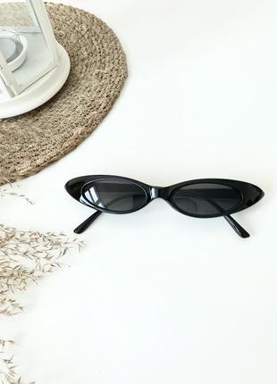 Черные очки узкие кошачий глаз имиджевые закругленные острые овальные 2020 окуляри