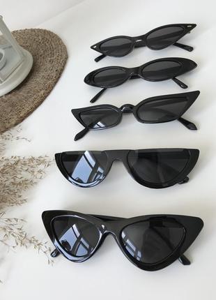 Черные узкие очки трендовые прямоугольные ретро 2020