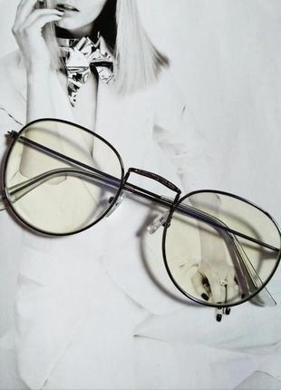 Ретро очки с прозрачной линзой без диоптрий графит