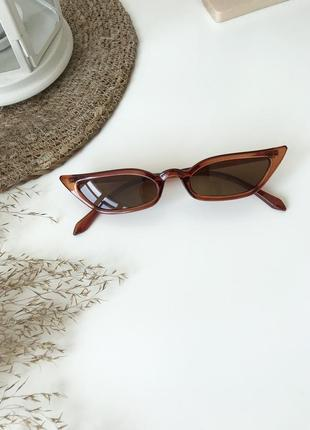 Узкие ретро очки винтажные женские имиджевые стильные тренд 2020 прямоугольные коричневые